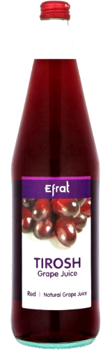 bottle of grape juice with label tirosh